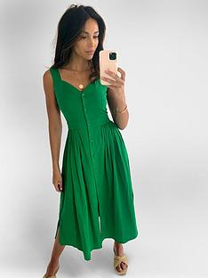 michelle-keegan-button-front-linen-midi-dress-green