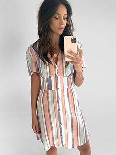 michelle-keegan-angel-sleeve-cottonnbspmini-dress-stripe