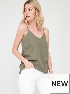 v-by-very-tencel-button-side-cami-khaki