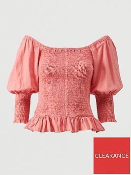 v-by-very-shirred-body-frill-hem-linen-blouse