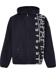 napapijri-boys-logo-hooded-windcheater-jacket-ndash-navy