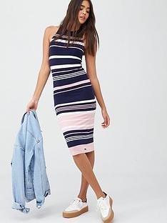 superdry-verigated-stripe-midi-dress-pink