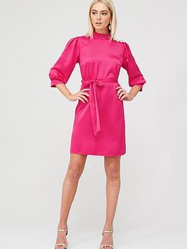 river-island-button-shoulder-belted-satin-mini-dress-pink