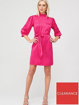 river-island-river-island-button-shoulder-belted-satin-mini-dress-pink