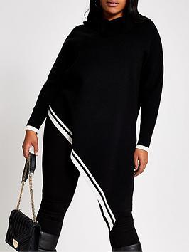 ri-plus-ri-plus-white-tipped-asymmetric-hem-jumper--black