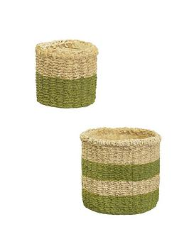 sass-belle-green-stripe-mini-green-dip-basket-planter