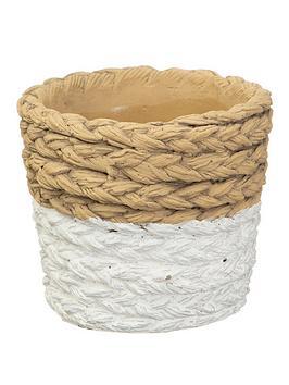 sass-belle-white-dip-cement-basket-planter