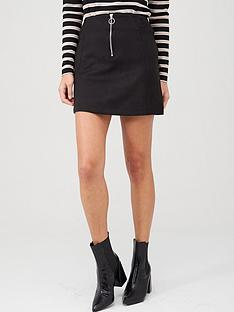v-by-very-faux-suede-zip-mini-skirt-black