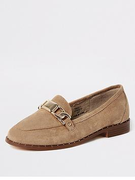 river-island-studded-edge-snaffle-detail-loafers-cream