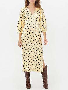 gestuz-lutille-printed-v-neck-dress-yellow