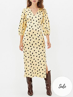 gestuz-lutille-printed-v-neck-dress-yellow