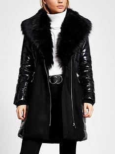 river-island-river-island-faux-fur-belted-padded-coat-black