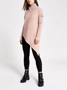 ri-petite-asymmetric-knitted-top-pink