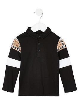 river-island-mini-boys-check-long-sleeve-polo-black