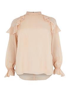 ri-plus-lace-insert-ruffle-blouse-pink