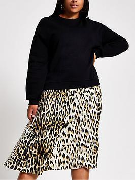 ri-plus-woven-mix-sweater-dress-black