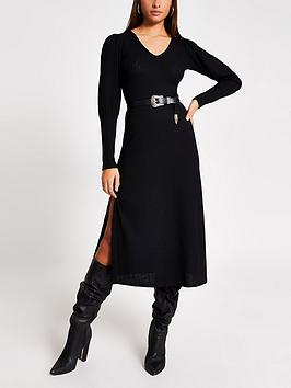 river-island-river-island-puff-sleeve-jersey-midi-dress-black