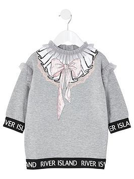 river-island-mini-girls-bow-print-sweat-dress-grey