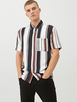river-island-short-sleevenbspvariated-stripe-shirt-chocolatenbsp