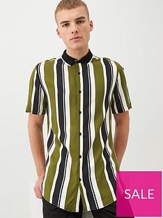 river-island-short-sleeve-stripe-rib-collar-shirt-khaki