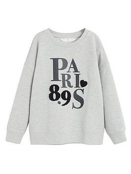 mango-girls-textured-paris-logo-sweatshirt-grey