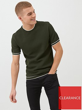 river-island-green-tipped-slim-fit-knitted-t-shirt