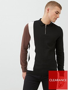river-island-black-blocked-slim-fit-knitted-polo-shirt