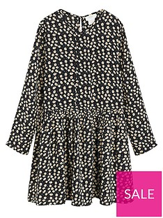 mango-girls-daisy-print-swing-dress-black