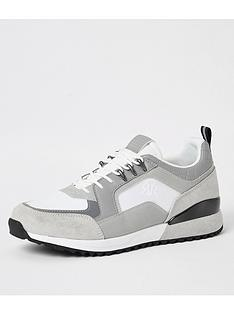 river-island-grey-ri-lace-up-runner-trainers