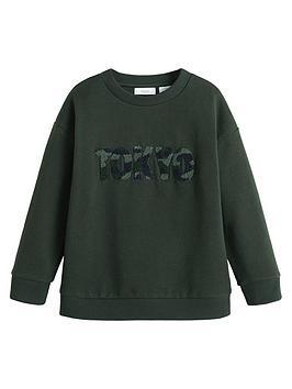 mango-boys-textured-logo-sweatshirt-khaki