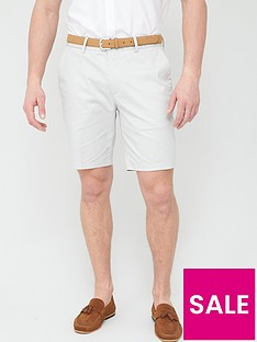 river-island-axis-belted-slim-fit-shorts-pebblenbsp