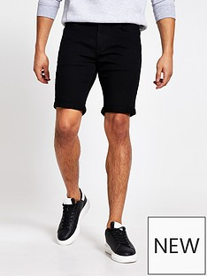 river-island-solid-black-denim-shorts