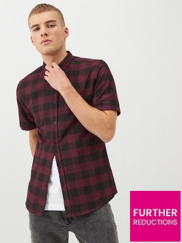 river-island-dark-red-check-short-sleeve-slim-fit-shirt