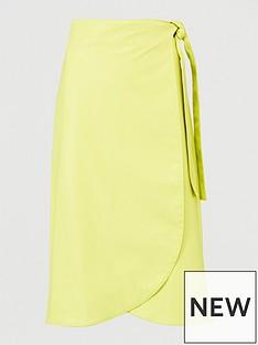 armani-exchange-belted-wrap-skirt-yellow