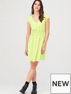 armani-exchange-elasticated-waistband-dress-yellow