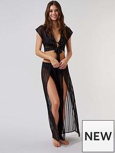 boux-avenue-satin-stripe-tie-front-top-black