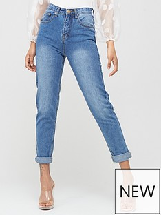 boohoo-boohoo-high-rise-mid-wash-mom-jeans-blue