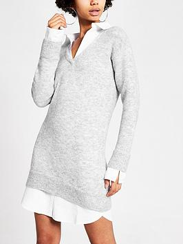 river-island-river-island-long-sleeve-shirt-jumper-dress-light-grey