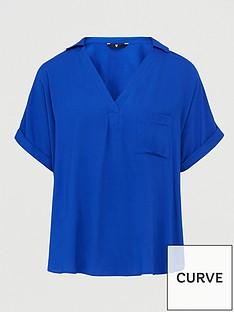 v-by-very-curve-short-sleeve-viscose-shirt-blue