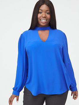 v-by-very-curve-choker-neck-blouse-blue