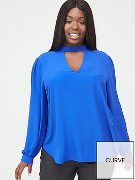 v-by-very-curve-choker-neck-blouse-blue