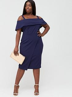v-by-very-curve-cold-shoulder-pencil-dress-navy