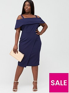 v-by-very-curve-cold-shoulder-pencil-dress-navy