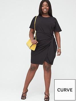 v-by-very-curve-stretch-drape-detail-dress-black