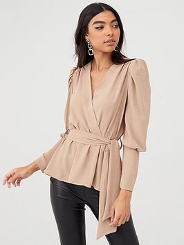 boohoo-boohoo-puff-sleeve-wrap-blouse-stone