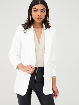 boohoo-boohoo-ruched-sleeved-blazer-white