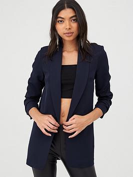 boohoo-boohoo-ruched-sleeved-blazer-navy