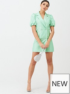 boohoo-boohoo-puff-sleeve-blazer-dress-with-diamante-buttons-mint