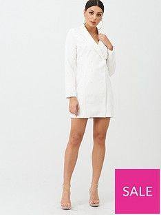 boohoo-boohoo-pearl-embellished-blazer-dress-white