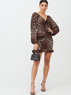 boohoo-boohoo-ruched-wide-sleeve-frill-leopard-print-mini-dress-brown